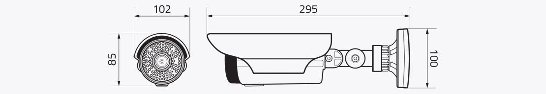 Wymiary kamery IP EVX-IP2016AIR EVERMAX